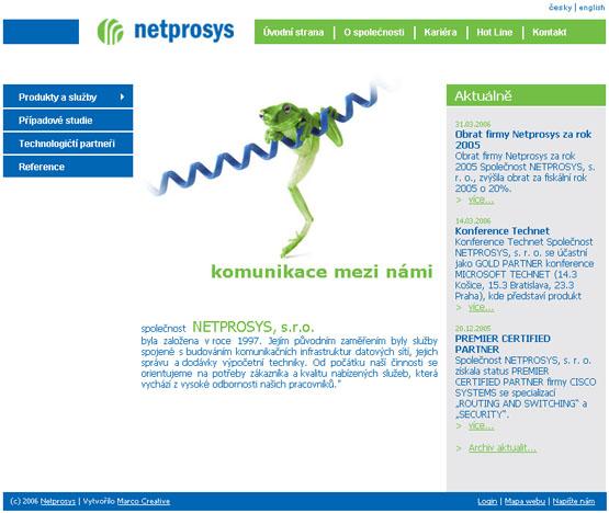 Webová prezentace společnosti NETPROSYS